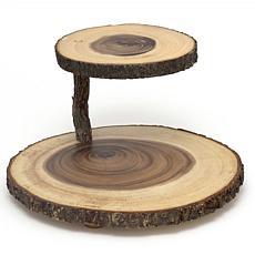 Lipper International Acacia 2-Tier Tree Bark Server