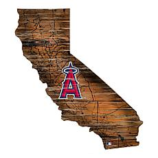 Los Angeles Angels  24in. Distressed State w/Logo Sign