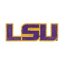 LSU Distressed Logo Cutout Sign