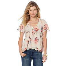 Lucky Brand Cutout Floral-Print Woven Top