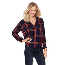 Lucky Brand Plaid Peasant Top - Missy