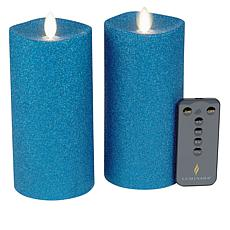 Luminara 6.5 Moving Flame Glitter Candle 2-pack