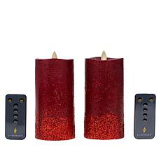Luminara Moving Flame Gradual Glitter Candle 2-pack