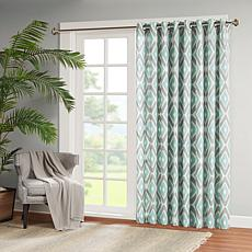 Madison Park Ashlin Diamond-Print Patio Curtain - Aqua - 100 x 84""
