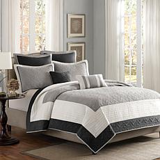 Madison Park Attingham 7-Piece Coverlet Set - Full/Queen/Black
