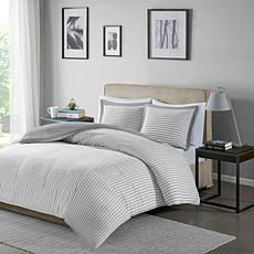 Madison Park Essentials Hayden Stripe Duvet Cvr Set Grey King/Cal King