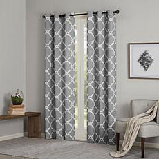 "Madison Park Essentials Merritt Fretwork Curtain Pair-Gray-42""x63"""