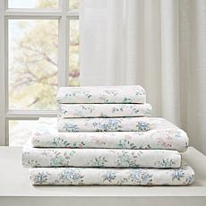 Madison Park Floral Cotton Comfort-Wash Sheet Set - Blue - Full