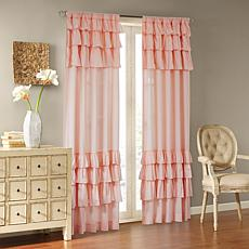 "Madison Park Jocelyn Cotton Oversized Ruffle Curtain-Pink-50""x84"""