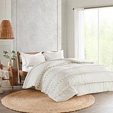 Madison Park Leona 3-Piece Pompom Cotton Comforter Set - Full/Queen