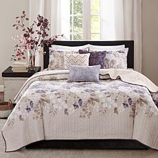 Madison Park Luna 6-piece Taupe Quilted Coverlet Set -