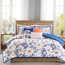 Madison Park Makena 6-piece Navy Cotton Duvet Set - Ful