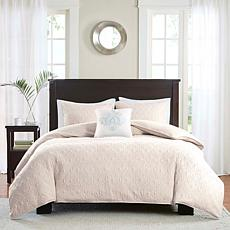 Madison Park Quebec 4pc Ivory 2-in-1 Duvet Set - K/CK