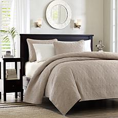 Madison Park Quebec Full/Queen Quilted Coverlet Mini Set - Khaki