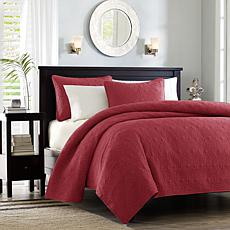 Madison Park Quebec Full/Queen Quilted Coverlet Mini Set - Red