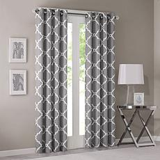 "Madison Park Saratoga Fretwork Curtain - Grey - 50""x84"""