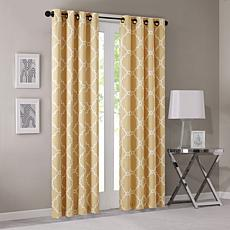 "Madison Park Saratoga Fretwork Curtain-Yellow-50""x108"""