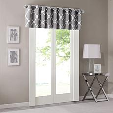 "Madison Park Saratoga Fretwork Valance - Grey - 50""x18"""
