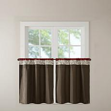 "Madison Park Serene Embroidered Kitchen Curtain-Red-60""x36"""