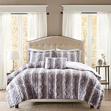 Madison Park Zuri  Faux Fur Comforter Set - Gray - F/Q