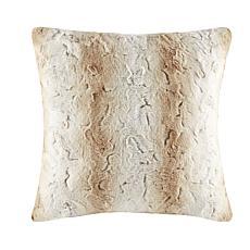 "Madison Park Zuri Faux Fur Euro Pillow 25""x25"" - Sand"