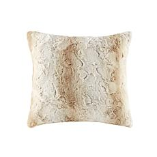 "Madison Park Zuri Faux Fur Square Pillow 20""x20"" -  Sand"