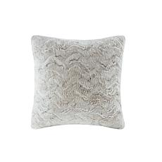 "Madison Park Zuri Faux Fur Square Pillow 20""x20"" -  Snow Leopard"