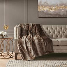 "Madison Park Zuri Oversized Faux Fur Throw 60""x70"" -  Tan"