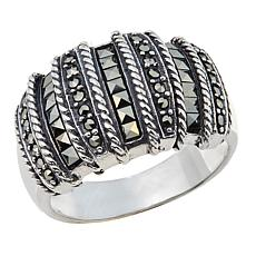 Marcasite 7-Row Vertical Design Domed Sterling Silver Ring