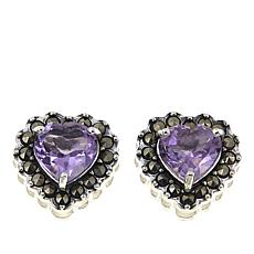 Marcasite and Amethyst Sterling Silver Heart-Shaped Stud Earrings