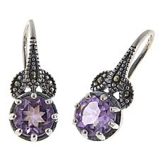 Marcasite and Amethyst  Sterling Silver Leaf Design Drop Earrings