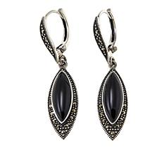 Marcasite and Black Onyx Sterling Silver Marquise Drop Earrings