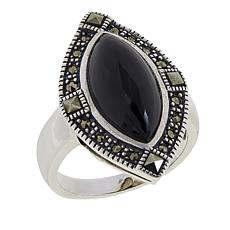 Marcasite and Black Onyx Sterling Silver Marquise Ring