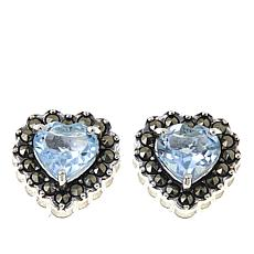 Marcasite and Blue Topaz Sterling Silver Heart-Shaped Stud Earrings