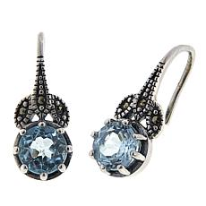 Marcasite and Blue Topaz Sterling Silver Leaf Design Drop Earrings