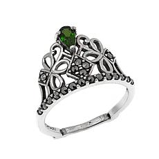 Marcasite and Chrome Diopside Sterling Silver Tiara Ring