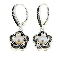 Marcasite and Cultured Freshwater Pearl Flower Drop Earrings