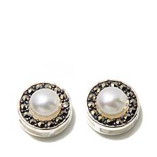 Marcasite and Cultured Freshwater Pearl Sterling Studs