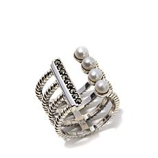 Marcasite and Cultured Pearl 4-Row Wrap Sterling Ring
