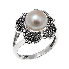Marcasite and Cultured Pearl Sterling Silver Flower Ring