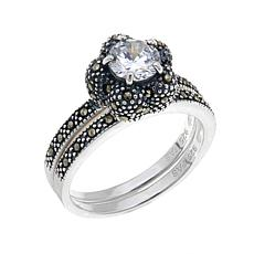 Marcasite and CZ Flower Ring and Band 2p Stackable Set