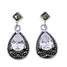 Marcasite and CZ Pear-Shaped Sterling Drop Earrings