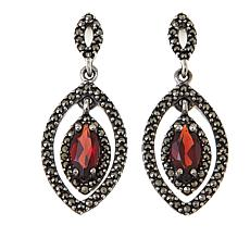 Marcasite and Garnet Sterling Silver Marquise-Shaped Drop Earrings