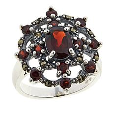 Marcasite and Garnet Sterling Silver Open-Metalwork Quatrefoil Ring