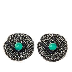 Marcasite and Green Agate Sterling Silver Flower Stud Earrings