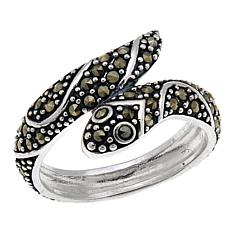 Marcasite Snake-Design Sterling Silver Bypass Ring