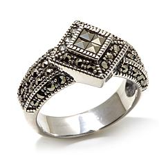 Marcasite Square and Round Diamond-Shaped Sterling Ring