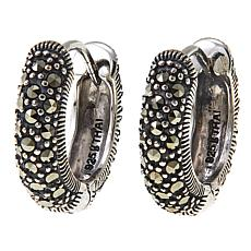 "Marcasite Sterling Silver 3/8"" Hugger Hoop Earrings"