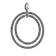 "Marcasite Sterling Silver Double Oval Pendant with 18"" Chain"