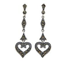 Marcasite Sterling Silver Heart Design Dangle Earrings